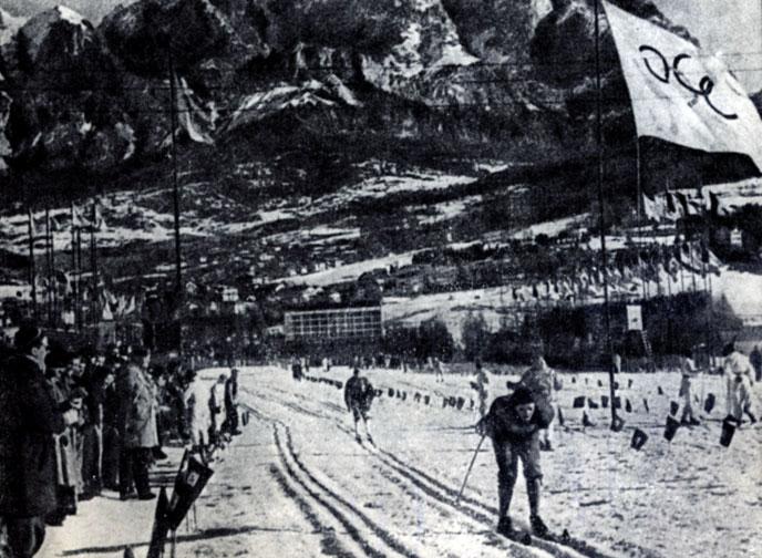 На VII зимней Олимпиаде. Гонка лыжников