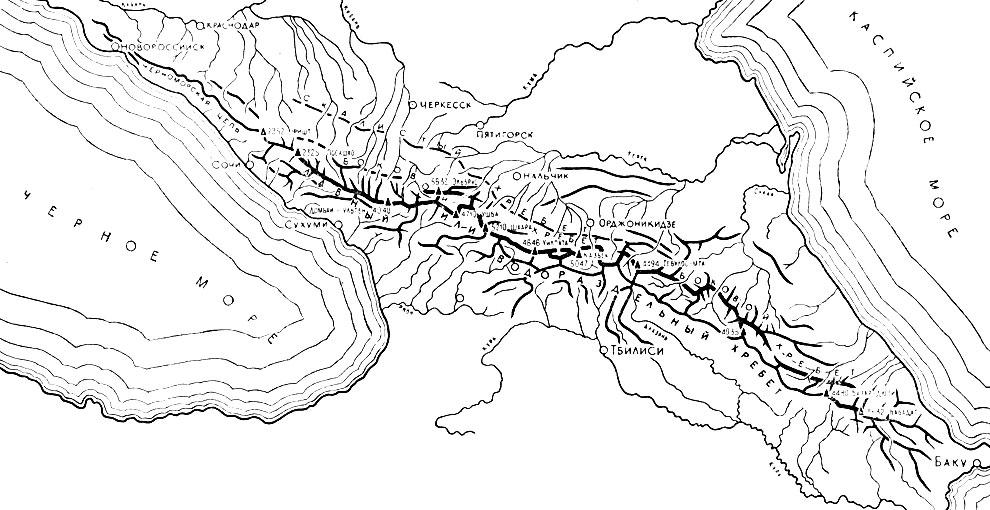 Схема хребтов Кавказа
